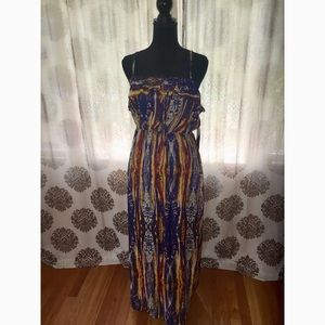 Multi colored(Blue,Yellow&orange) Maxi Dress